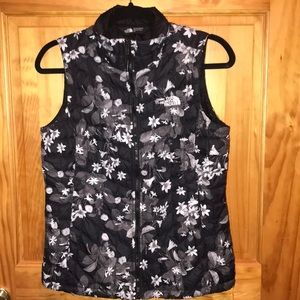 The North Face Floral Vest Small Black Grey
